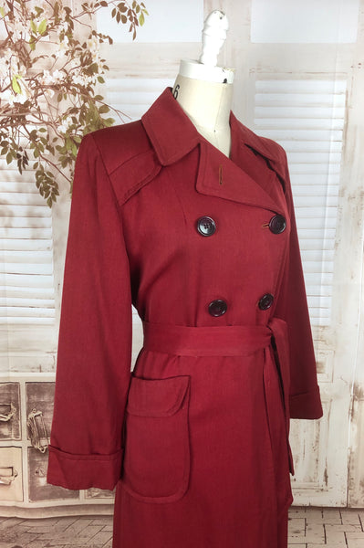 LAYAWAY PAYMENT 1 OF 2 - RESERVED FOR FELICITY - PLEASE DO NOT PURCHASE - Original 1940s 40s Vintage Red Gab Gabardine Belted Double Breasted Rain Coat
