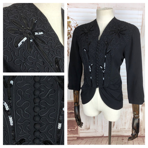 Incredible Original 1940s 40s Vintage Black Crepe Jacket With Soutache Embroidery And Sequins
