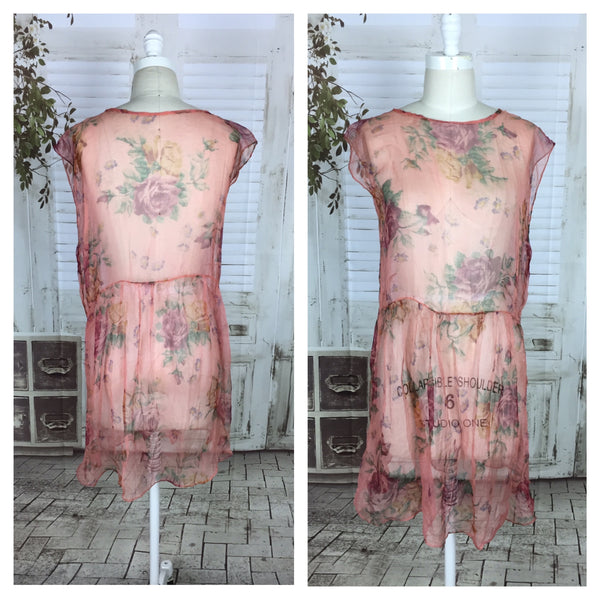 Original 1920s 20s Pink Floral Vintage Georgette Dress