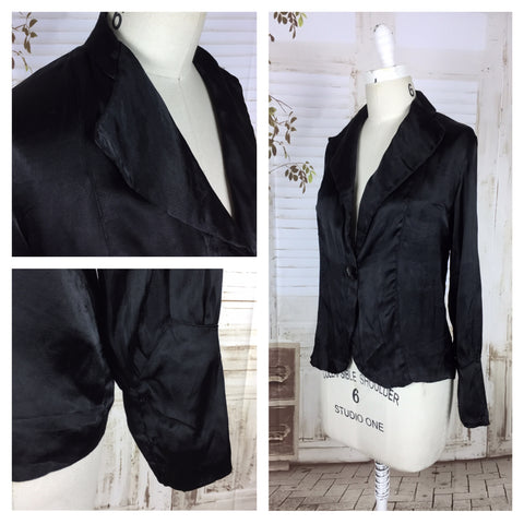Original 1930s 30s Black Satin Vintage Jacket