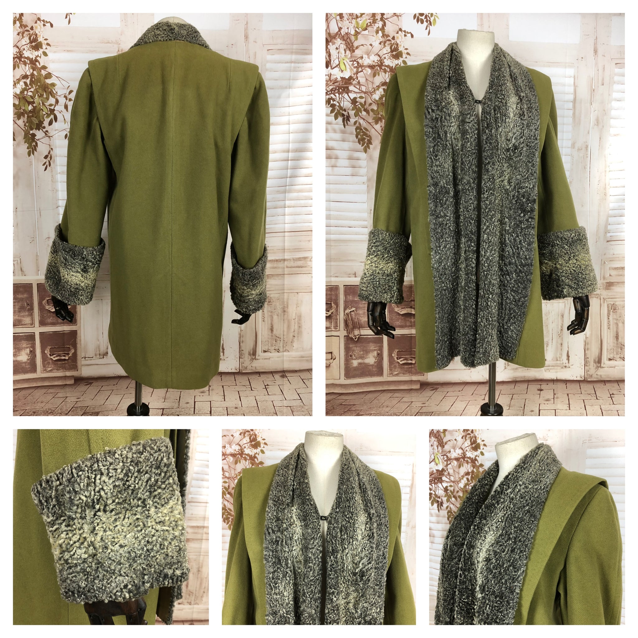 LAYAWAY PAYMENT 2 OF 2 - RESERVED FOR VICKY -Original Vintage 1940s 40s Chartreuse Green Swing Coat With Astrakhan Trim