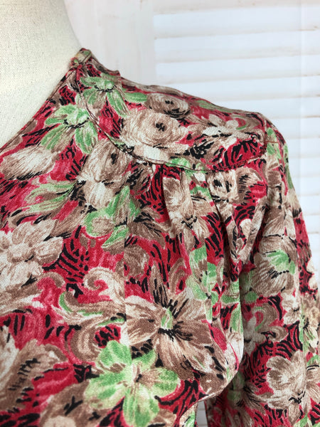 Original 1940s 40s Vintage Red Green And Brown Floral Crepe Dress