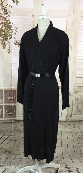 Original 1930s Vintage Black Crepe Dress With Diamante Satin Belt And Soutache Panels By Sheilla Belle Chicago