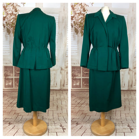 Original Vintage 1940s 40s Emerald Green Gabardine Skirt Suit In A Princess Cut Original By Gilbert