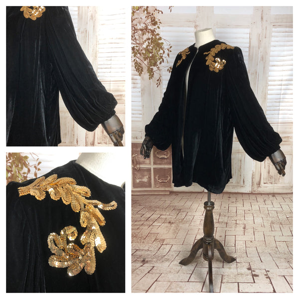 Original 1930s 30s Vintage Rich Black Silk Velvet Opera Coat With Bishop Sleeves And Gold Sequins
