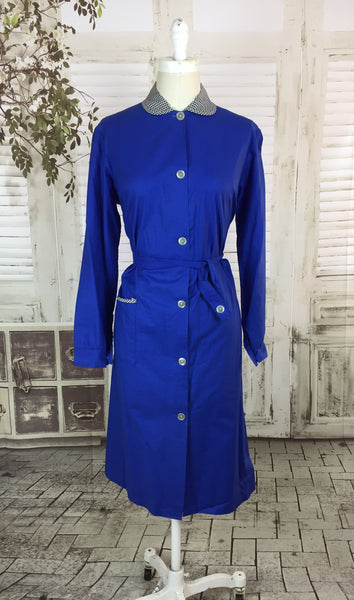 Original Late 1950s Early 1960s Royal Blue Cotton Dress Chorewear Volup