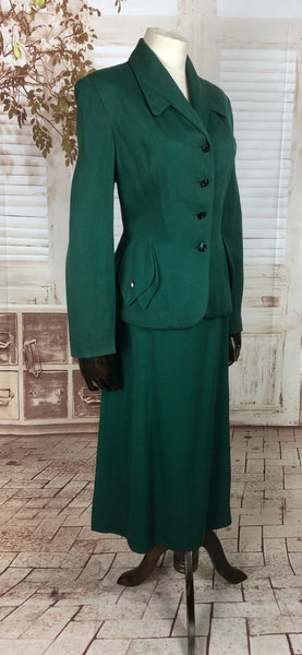 Original 1940s 40s Vintage Forest Green Gab Gabardine Skirt Suit With Petal Pocket Decoration