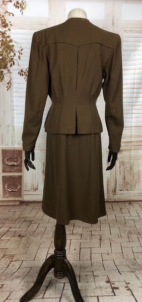 RESERVED FOR SENDI - PLEASE DO NOT PURCHASE - Fabulous Vintage 1940s 40s Brown Crepe Collarless Skirt Suit With Peplum