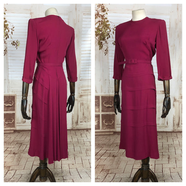 Original 1940s 40s Vintage Fuchsia Pink Rayon Celanese Dress With Original Belt And Tiered Waterfall Skirt