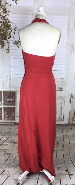 Original 1940s 40s Vintage Red Halter Neck Evening Dress With Draping And Passementerie Tassels