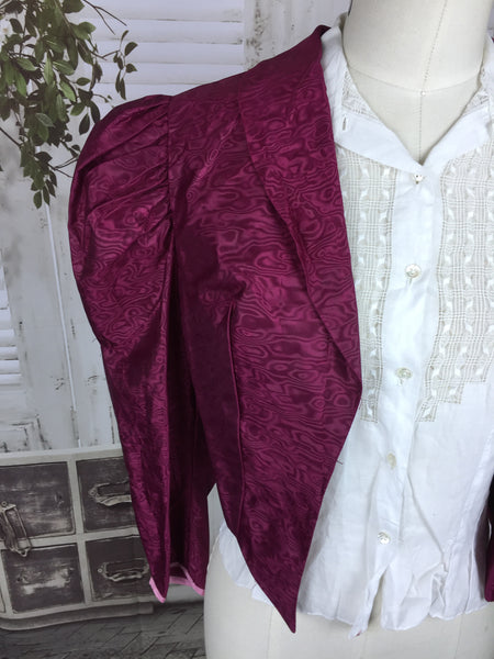 Original 1930s Vintage Wine Watermark Taffeta Puff Sleeve Jacket Dead Stock