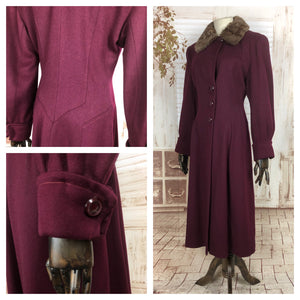 LAYAWAY PAYMENT 3 OF 3 - RESERVED FOR AURIANE - Original 1940s 40s Vintage Burgundy Fit And Flare Princess Coat With Fur Collar