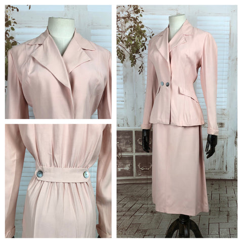 LAYAWAY PAYMENT 2 of 2 - RESERVED FOR KHARONN - Original 1940s 40s Vintage Pale Pink Belt Back Summer Suit
