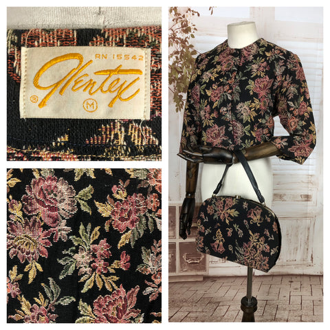 Original Late 1950s 50s / Early 1960s 60s Tapestry Jacket Blazer And Matching Handbag