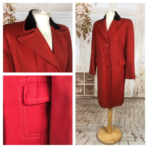 Original 1940s 40s Vintage Red Lightweight Wool Coat With Black Velvet Dagger Collar