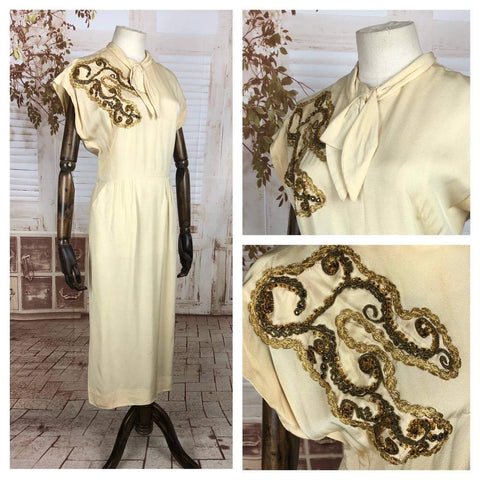 Original 1940s 40s Vintage Cream Cocktail Dress With Gold Braided Trim And Beading