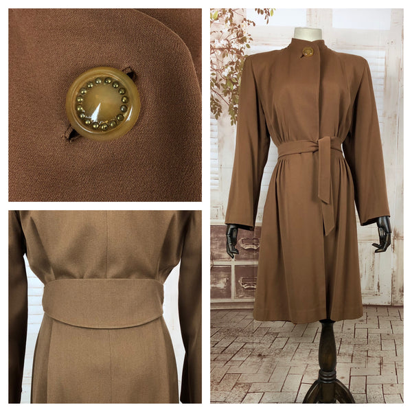 RESERVED FOR SENDI - Fabulous Original Vintage 1940s 40s Milk Chocolate Belted Princess Coat