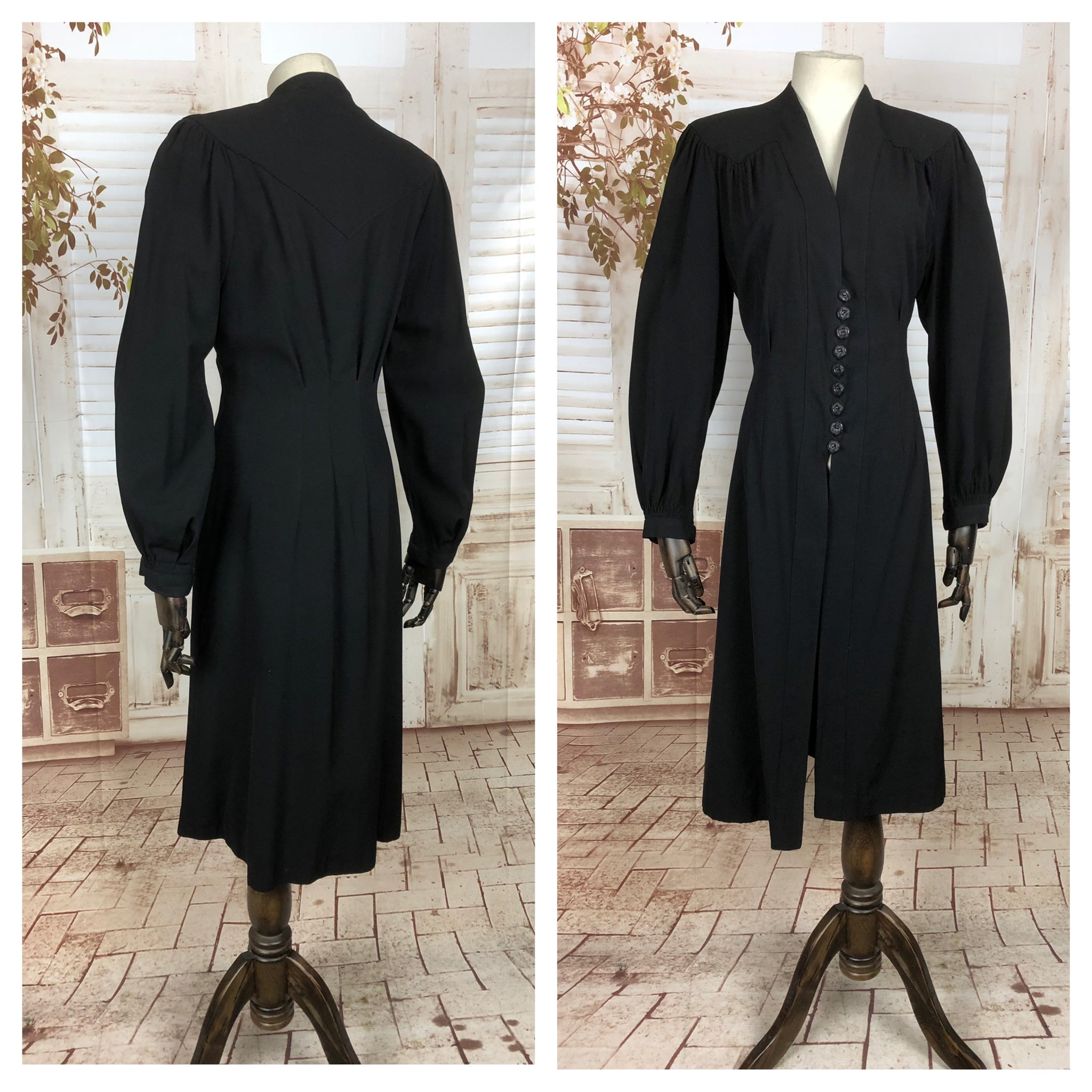 Original Vintage 1930s 30s Black Cotton Princess Coat With Bishop Sleeves And Bakelite Buttons