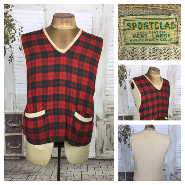 Original 1950s 50s Vintage Red Tartan Plaid Vest By Sportclad