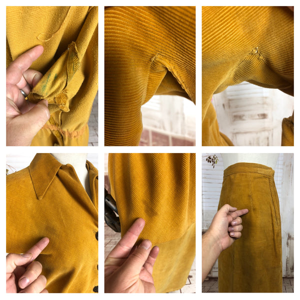 Original 1940s 40s Vintage Mustard Yellow Corduroy Suit With Huge Fluted Sleeves and Peplum
