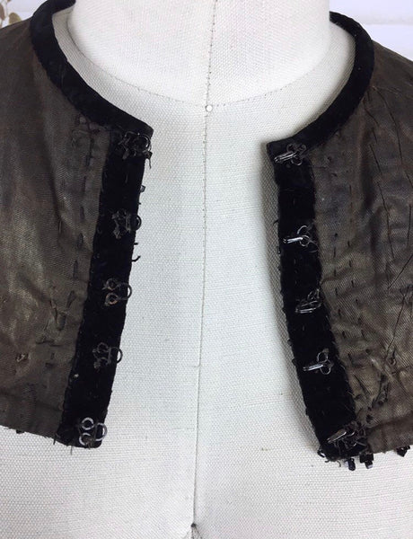 Original Victorian 1800s Capelet Collar With Jet Beads