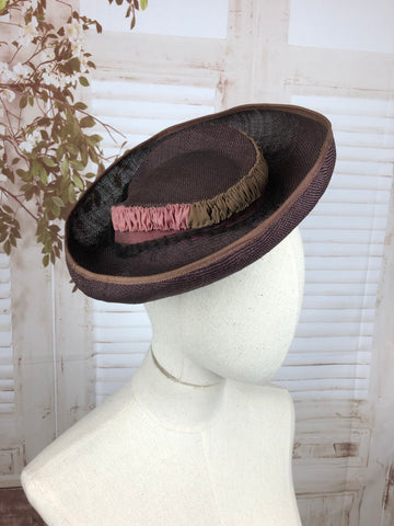 Purple 1930s 30s Straw Brimmed Perched Hat With Pink Magenta And Brown Trim