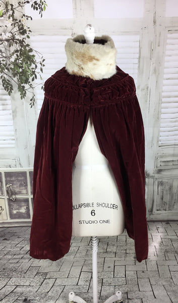 Original 1800s Victorian Red Velvet And Fur Collar Quilted Cape