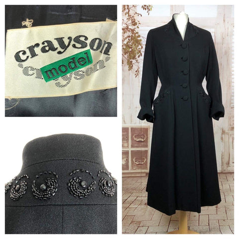 Fabulous Late 1940s 40s Vintage New Look Style Beaded Fit And Flare Princess Coat