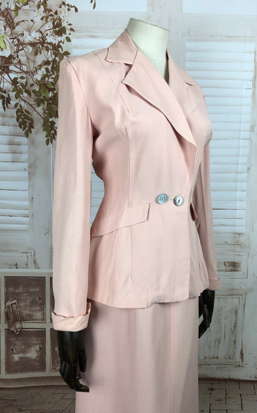 LAYAWAY PAYMENT 1 of 2 - RESERVED FOR KHARONN - Original 1940s 40s Vintage Pale Pink Belt Back Summer Suit