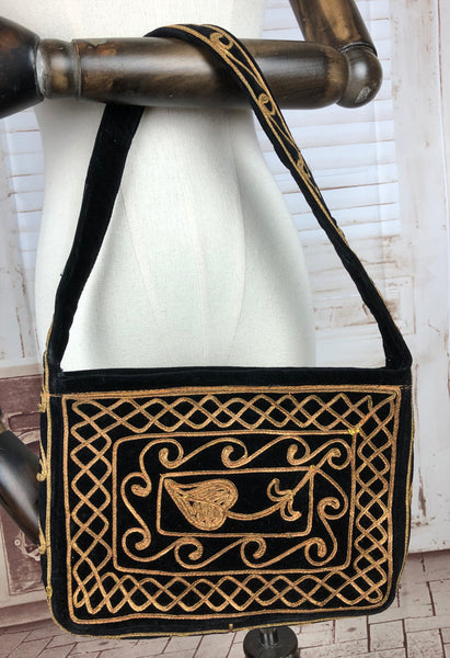 Black 1940s 40s Handbag With Gold Soutache Decoration