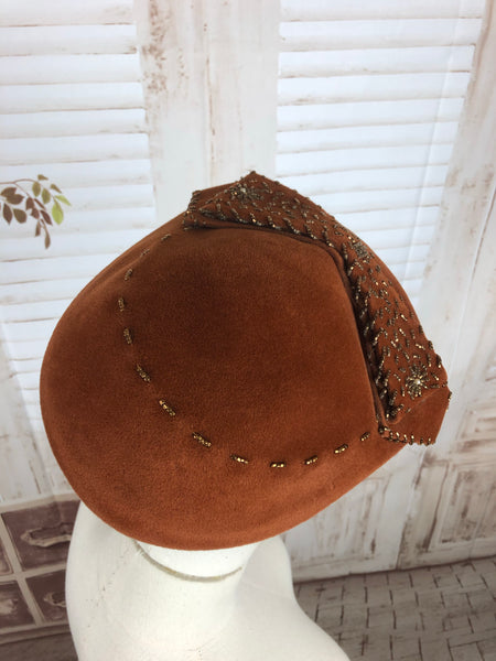 Bronze 1950s 50s Beaded Perched Hat