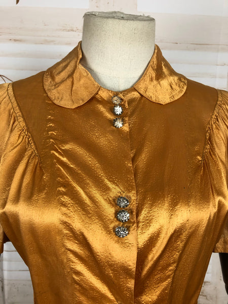 Original Vintage 1930s 30s Satin Gold Blouse With Lizard Texture And Puff Sleeves