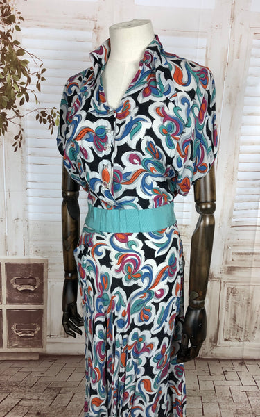 Original 1940s 40s Vintage Rayon Novelty Print Day Dress With Aqua Grosgrain Waistband