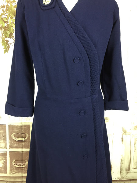 Original 1940s 40s Volup Vintage Navy Blue Wool Asymmetric Pin Tucked Day Dress