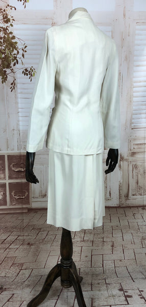 Original 1940s 40s Vintage White Summer Skirt Suit With Button Details