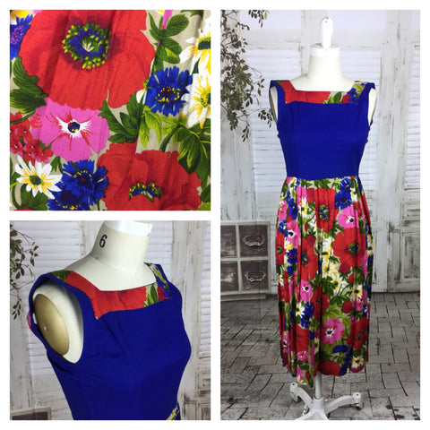 An Original Period Vintage 1950s Blue Flower Print Dress Size XS Petite Waist 24inch (Approx. Size 6-8)