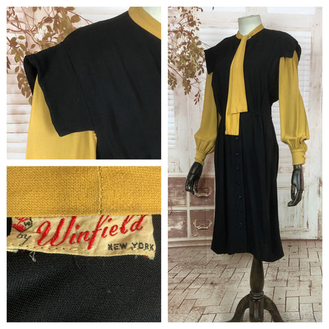 Incredible Original Vintage 1940s 40s Black And Mustard Yellow Colour Block Dress With Bishop Sleeves
