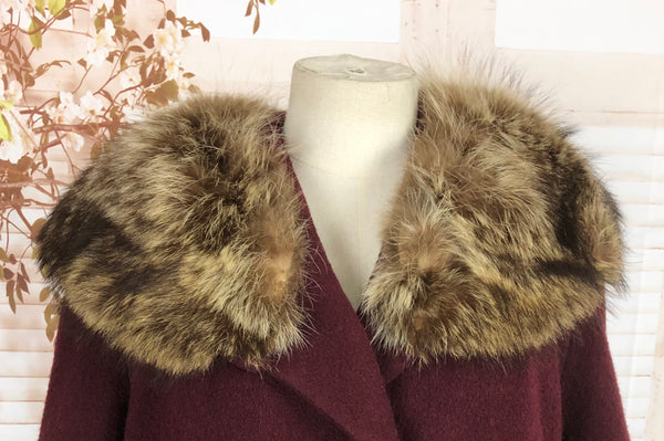 Stunning Original Vintage 1940s 40s Burgundy Wine Swing Coat With Fox Fur Collar By Shagmoor