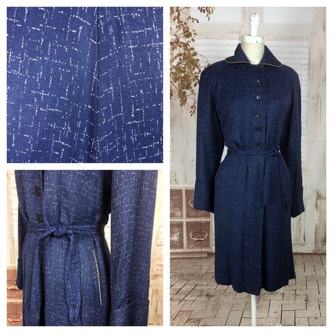 LAYAWAY PAYMENT 2 OF 2 - RESERVED FOR HOLLY - PLEASE DO NOT PURCHASE - Original 1940s 40s Volup Vintage Blue And White Atomic Fleck Belted Gabardine Coat