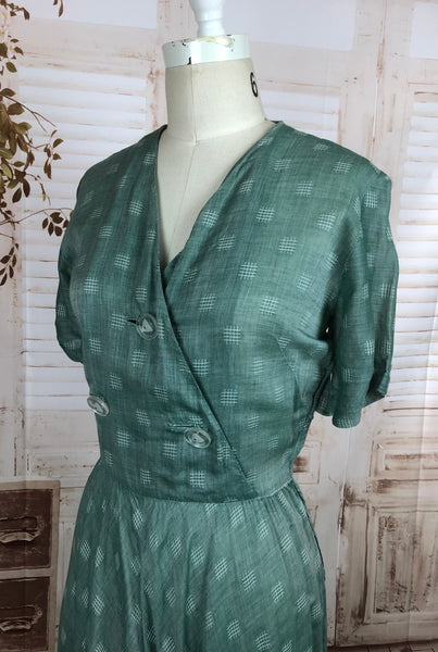Original 1950s 50s Vintage Seafoam Dress With Lucite Statement Buttons