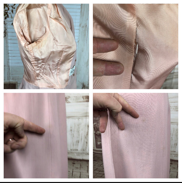 Original 1940s 40s Vintage Pink Starched Cotton Skirt Suit By Duchess Royal