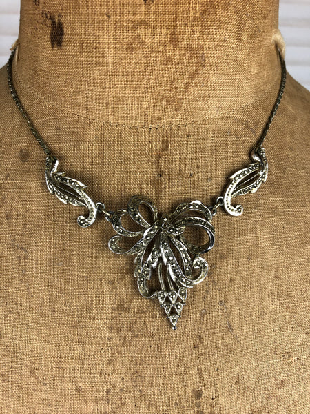 Vintage 1940s 40s Marcasite Articulated Necklace