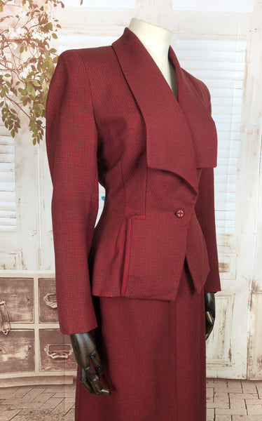 Original 1940s 40s Vintage Brick Red Check Skirt Suit With Huge Collar