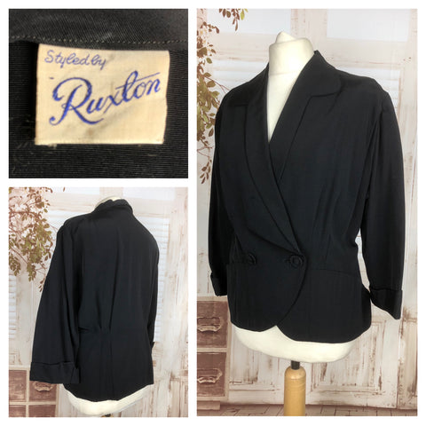 LAYAWAY PAYMENT 2 OF 2 - RESERVED FOR PATRICIA - Original Late 1940s 40s Volup Vintage Black Blazer