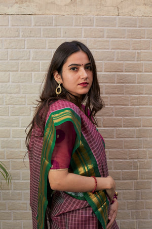 GADWAL SILK-COTTON - RASPBERRY CHECKS