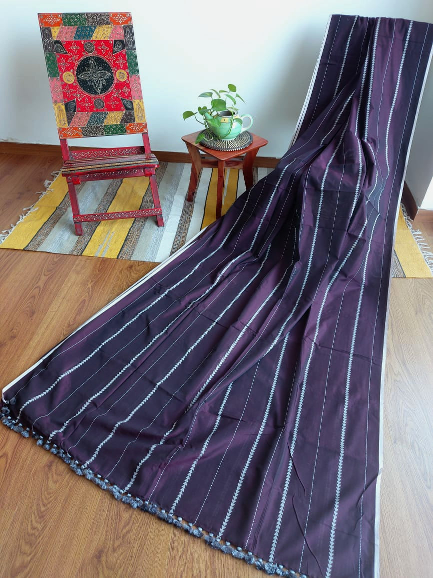 MAHESHWARI COTTON - WINE STRIPED
