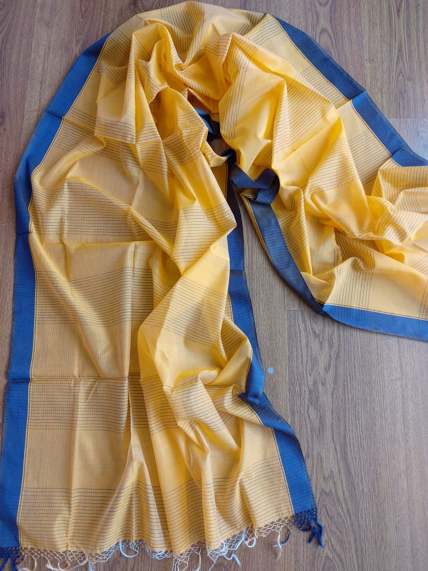SILK-COTTON DUPATTA - BUTTER YELLOW