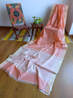 SAREE - PEACH BLOCK PRINT