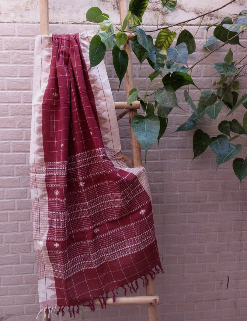KOTPAD COTTON - MAROON CHECKS 2