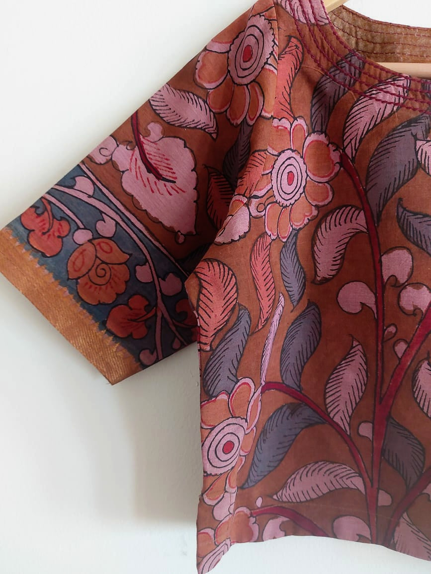 COTTON PEN KALAMKARI - BROWN & PINK 1